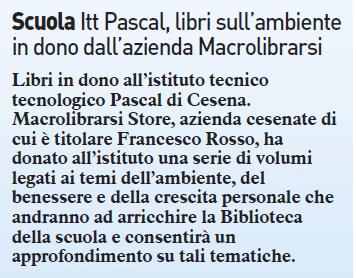 Itt Pascal, libri sull'ambiente in dono dall'azienda Macrolibrarsi | Il Resto del Carlino